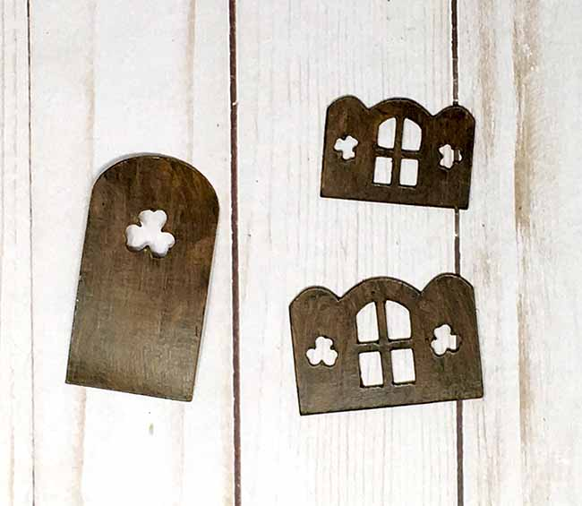 painted door and window frames for St Patricks day cardboard cottage
