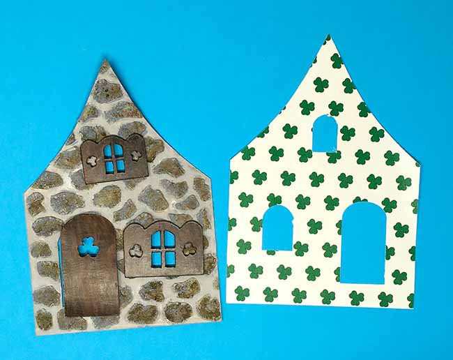 painted stones for front facade and shamrock wallpaper for miniature St Patricks day house