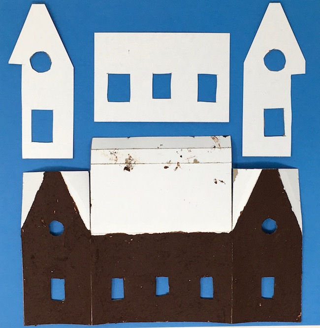 paper house painted gingerbread paint reinforcement pieces