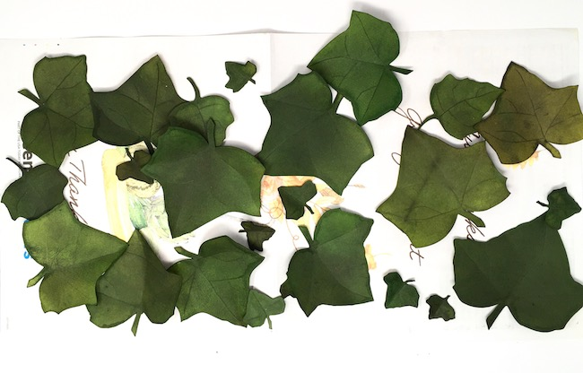 paper ivy leaves stained