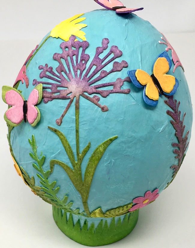 paper mache easter egg added butterflies tutorial DIY