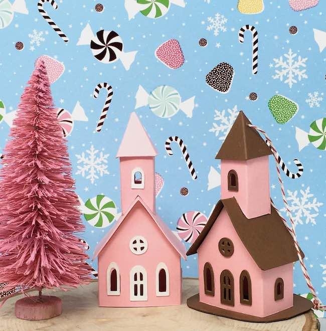 pink tiny church ornaments