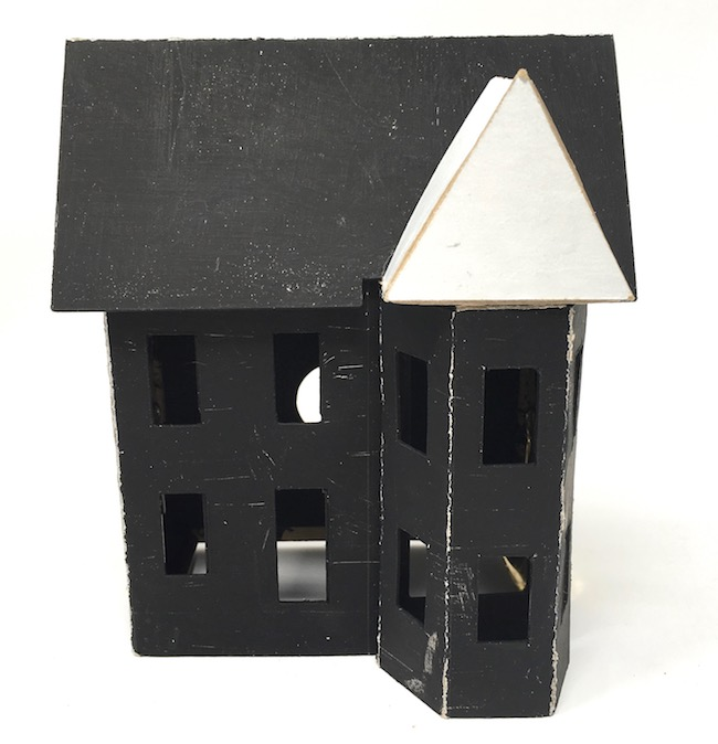 primed spooky halloween house with front triangle