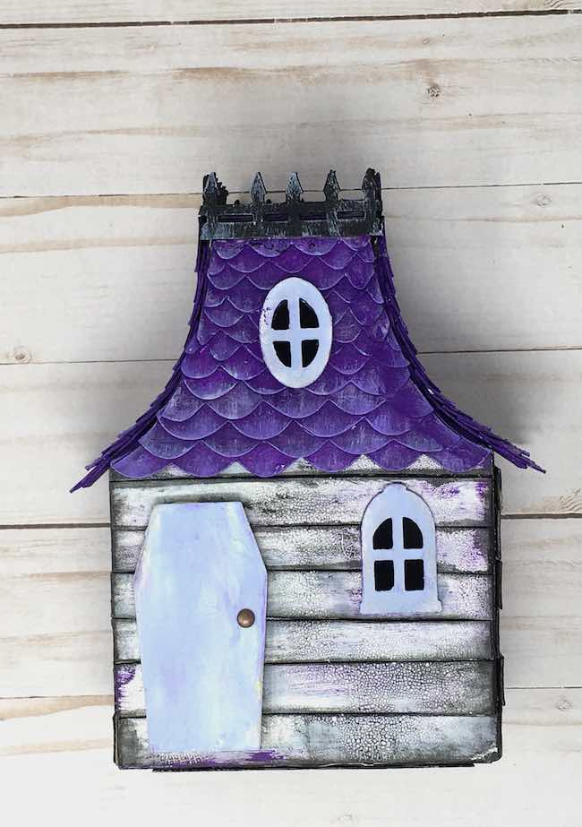 purple roof miniature Halloween house