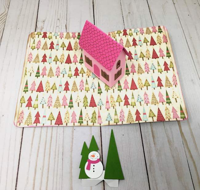 ready to add snowman pop up to Little cottage pop-up card