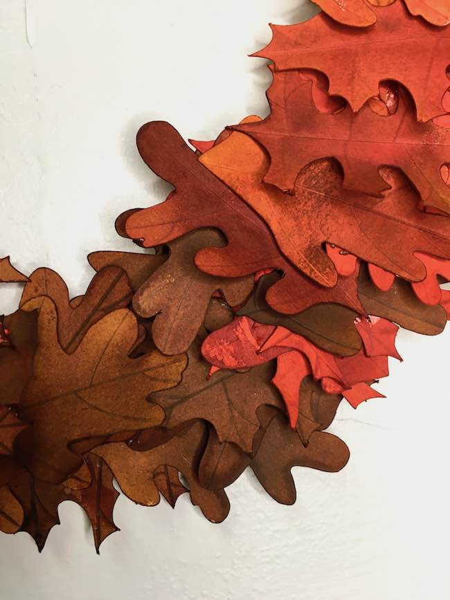 red to brown ombre paper leaves