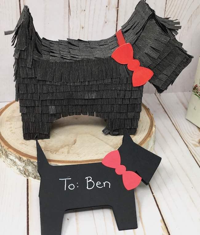 scotty dog gift tag and pinata gift box