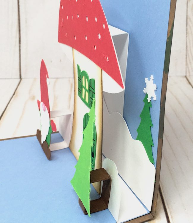 side view of pop-up card with all pieces in place