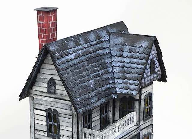 side view spooky miniature halloween house