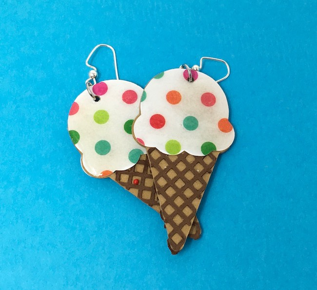 spotted ice cream cone earrings