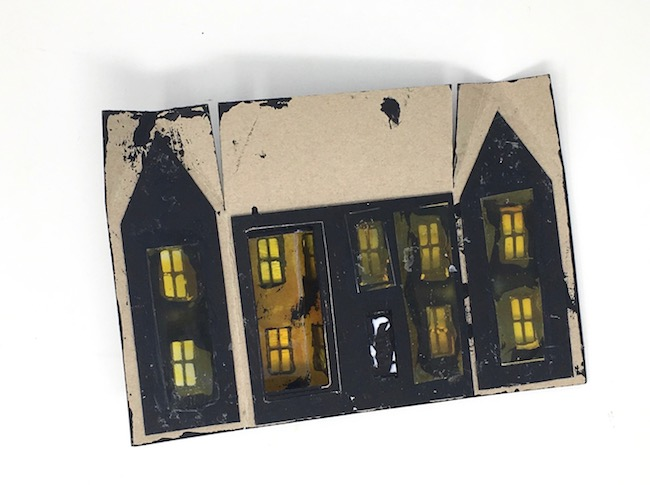 stained windows in spooky miniature halloween house
