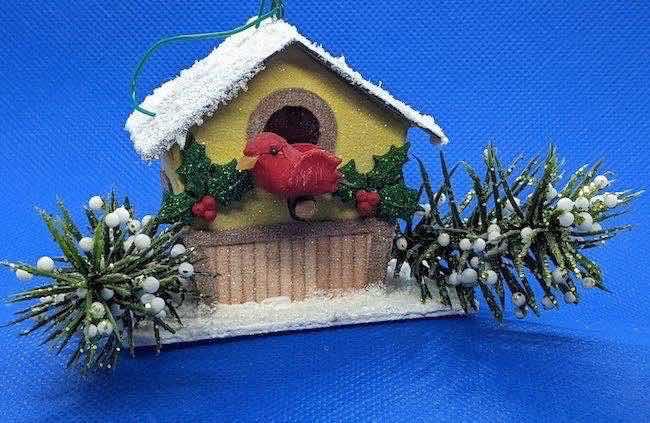 Tiny birdhouse holiday ornament