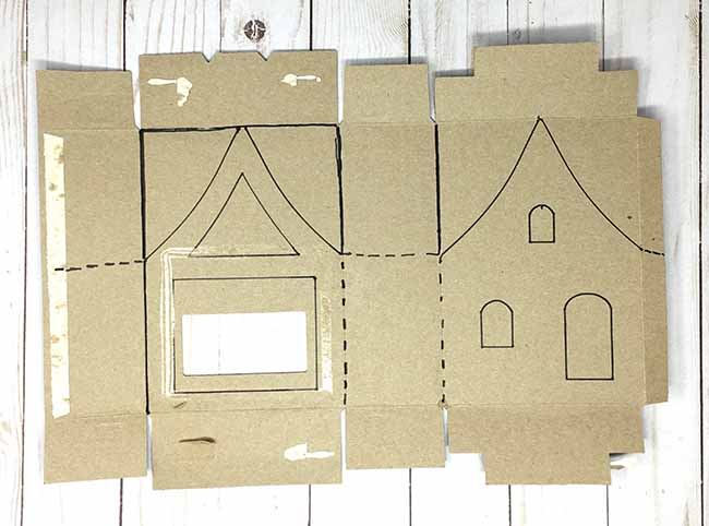 templates traced to recycled box for miniature St. Patricks day cottage
