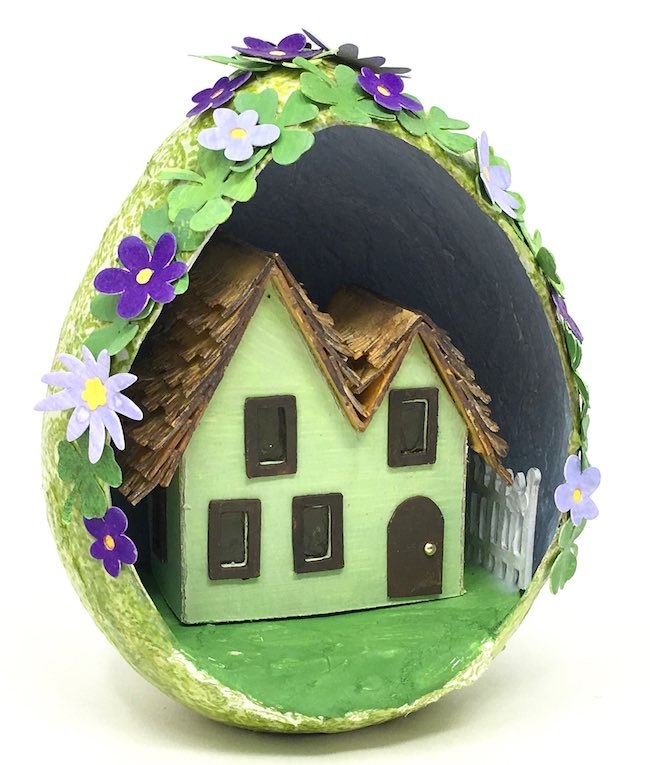 Test fit irish paper house within St. Patricks paper mache egg