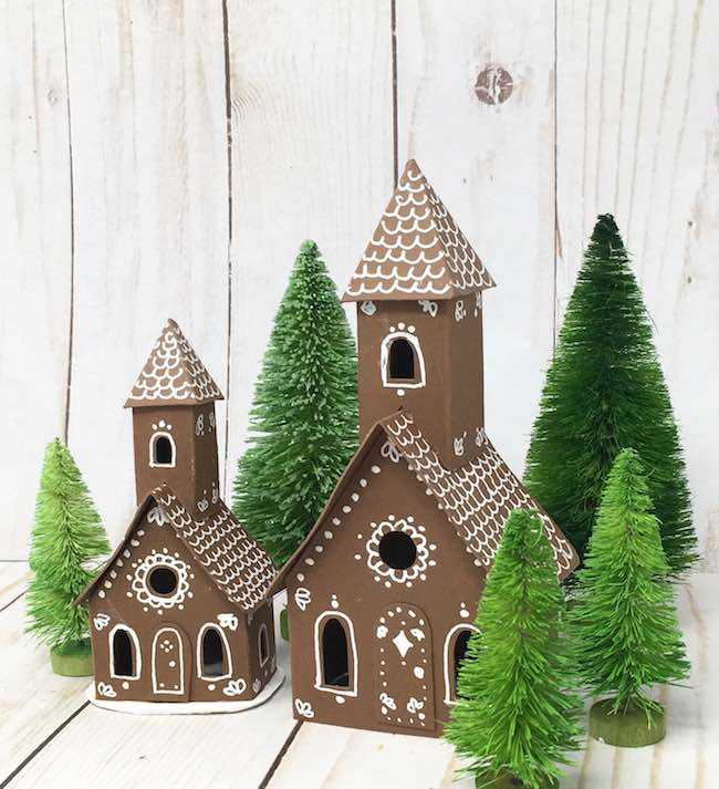 tiny and small brown churches decorated with white gel pen