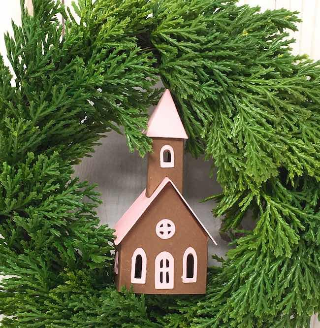 tiny church in the center of wreath