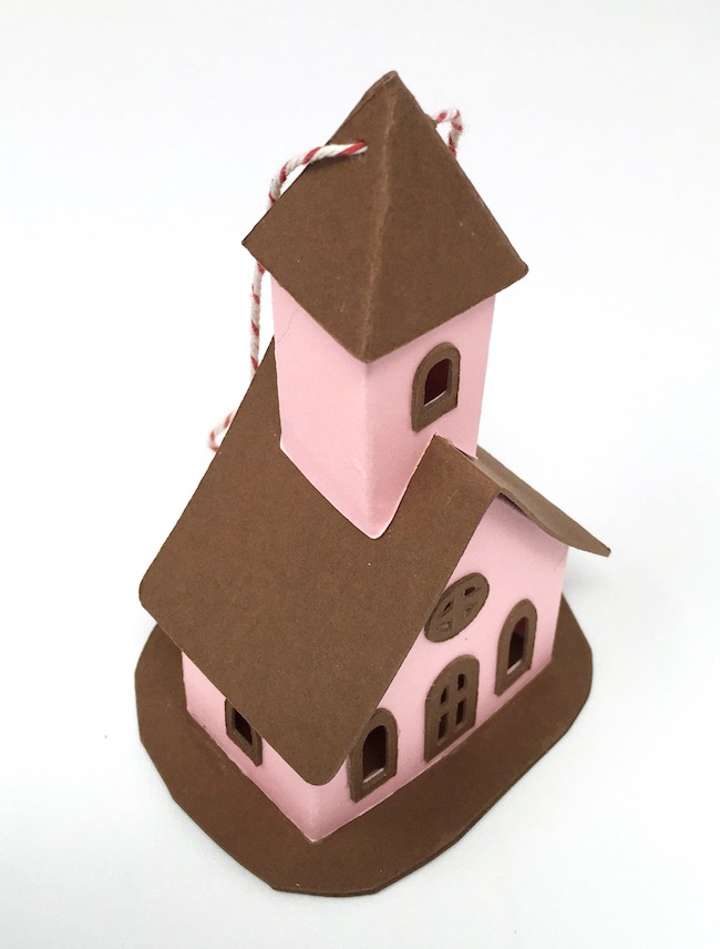 tiny church with string to hang ornament