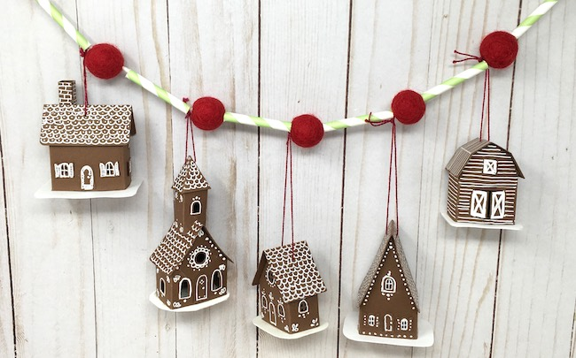 tiny houses on easy holiday garland paper straws felt balls