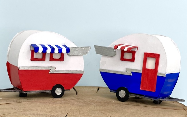 red white and blue tiny camper trailers