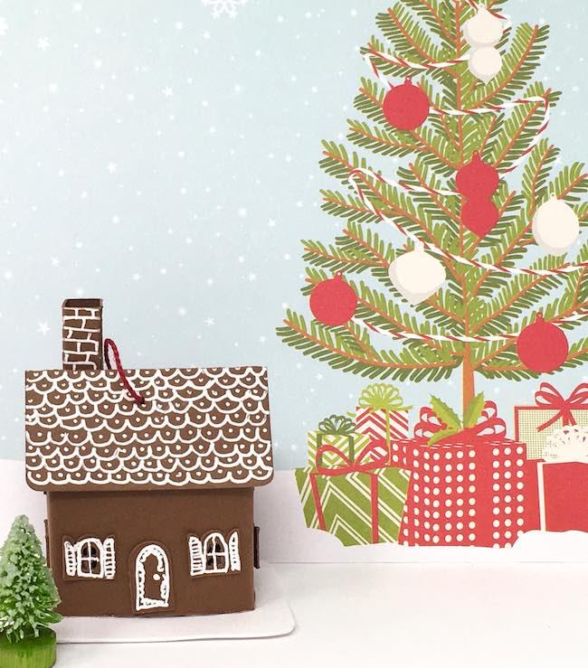 tiny paper cottage ornament