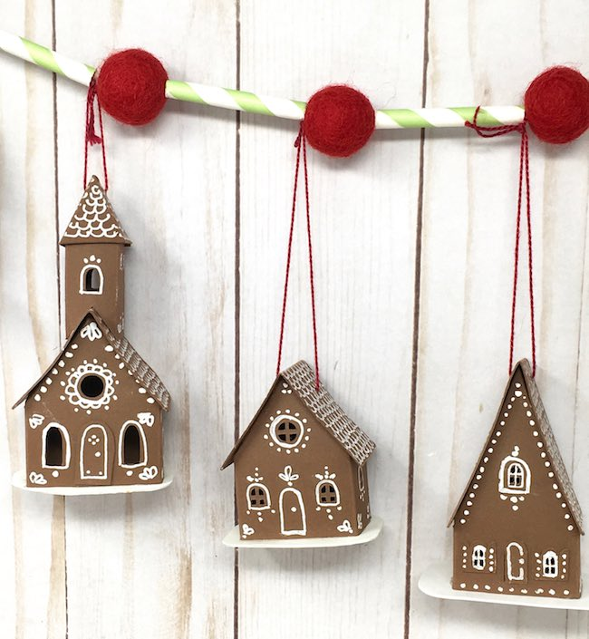 tiny paper houses on an easy tiny house paper holiday garland