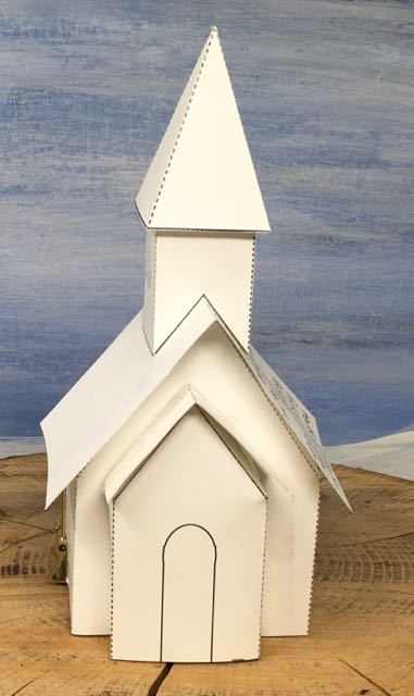too short steeple snowy church christmas paper house