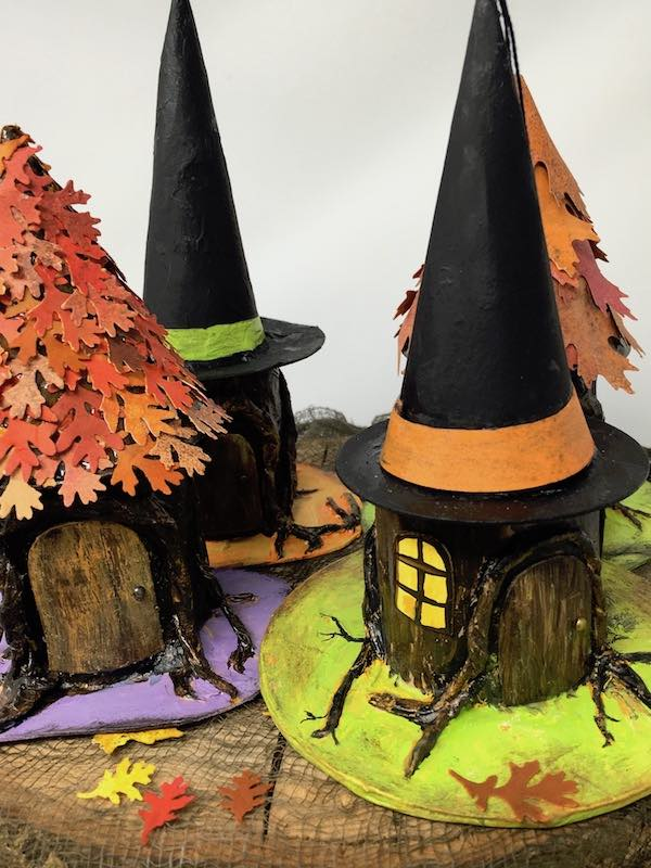 Miniature tree stump paper houses to make for Halloween decor
