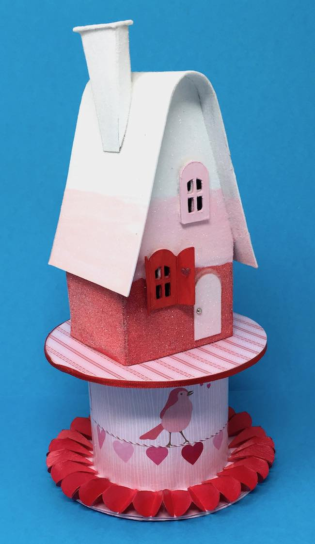 valentine candy corn house on ribbon roll base
