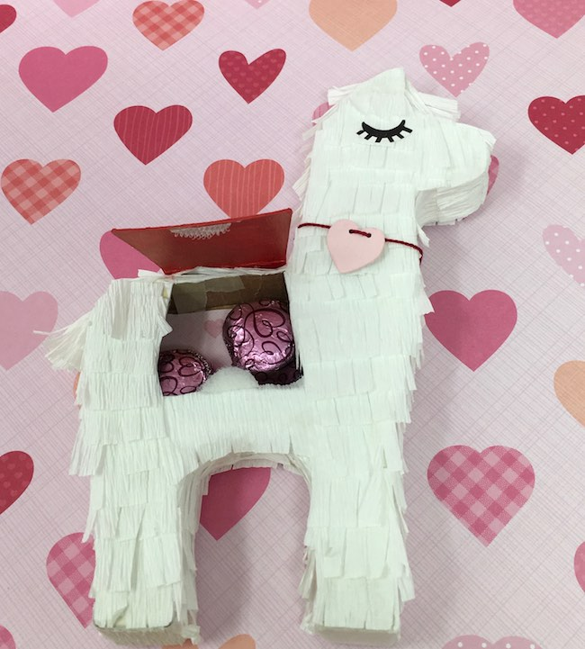 valentine llama with candy