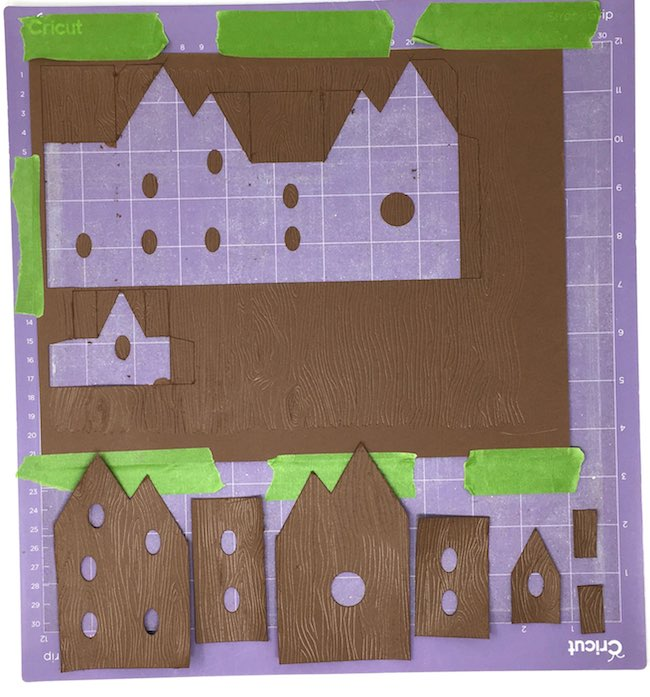 wood grain card stock cut out for fairy house