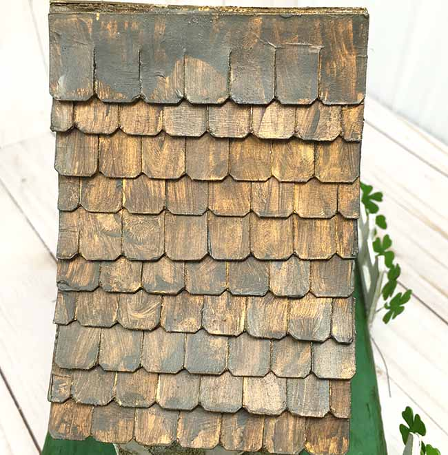wooden shingles made from cardboard for miniature house